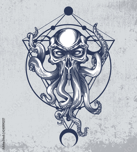 Photo Cthulhu creature with skull head on grunge background and sacred geometry ornament