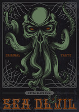 """""""Sea Devil"""", Alcohol Label Design. Vector Illustration Of Evil Skull With Tentacles In Engraving Technique, Tracery Ornament Frame On Grunge Background."""