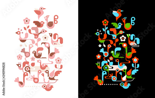 Birds on the tree vector illustrations