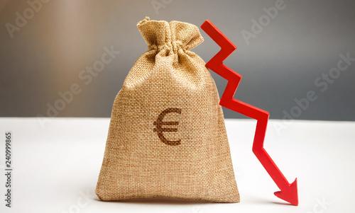 Fotografía  Money bag with a euro sign and an arrow down