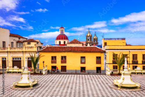 landmarks of Tenerife - traditional colorful town La Orotava. Canaray islands of Spain