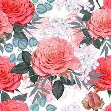 Floral Beautiful Seamless Pattern -Pink Rose ,petunia And Glory Bush Flowers