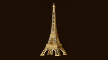 Yellow Eiffel Tower 3d Illustr...