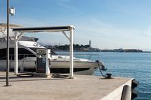 Luxury Yacht On Gas Station Near Sea In Split, Croatia