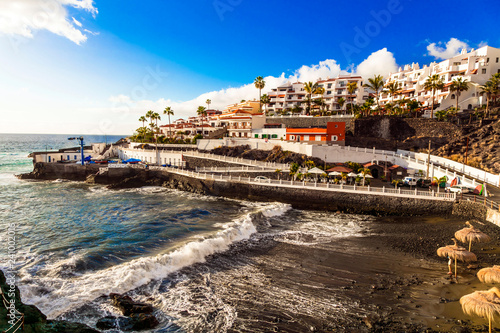 pictorial Puerto di Santiago - small coastal town in Tenerife . Canary islands