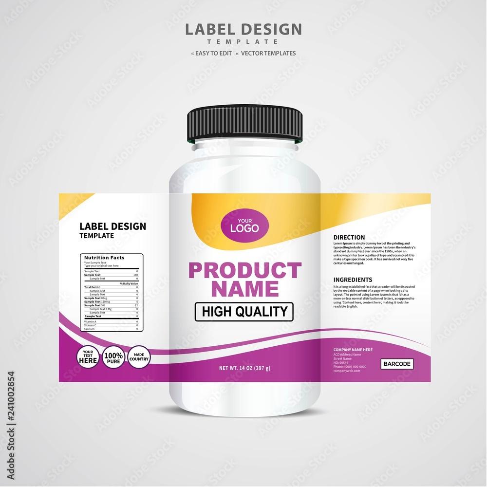 Fototapeta Bottle label, Package template design, Label design, mock up design label template