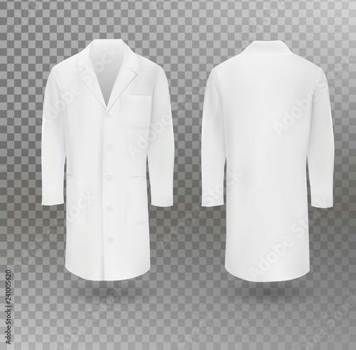 Fotografia Realistic white medical lab coat, hospital professional suit vector template isolated