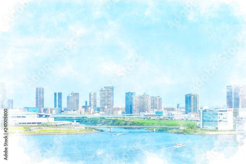 Foto auf AluDibond Licht blau 東京湾と高層マンション Tokyo city skyline , Japan