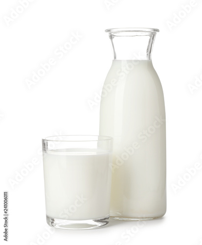 Glass and bottle with fresh milk on white background