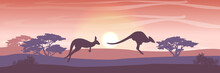Two Big Red Kangaroos Are Jumping Over The Australian Plain. Acacia Trees And Eucalyptus Trees. Wild Nature Of Australia. Realistic Vector Landscape. Silhouettes Of Animals And Plants. Travels