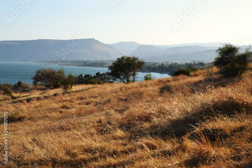 The Sea of Galilee and Church Of The Beatitudes, Israel, Sermon of the Mount of Canvas Print