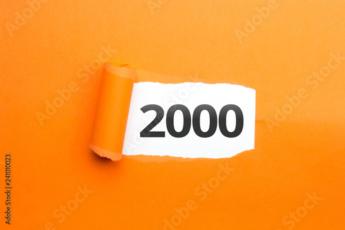Fotografia  surprising Number / Year 2000 orange background