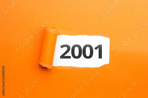 Fotografia  surprising Number / Year 2001 orange background