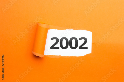 Tela  surprising Number / Year 2002 orange background