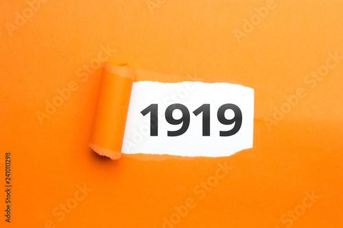 Fototapeta  surprising Number / Year 1919 orange background