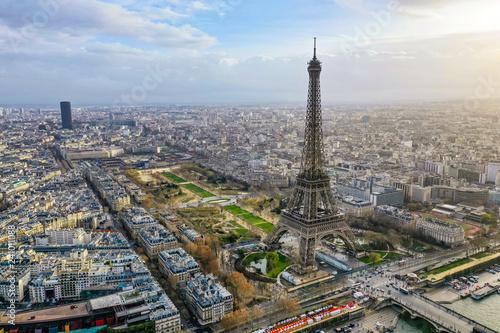Poster de jardin Tour Eiffel Beautiful Paris Aerial Panoramic Cityscape View feat. Famous Iconic Landmark Eiffel Tower, Champ de Mars Park, Seine River in France