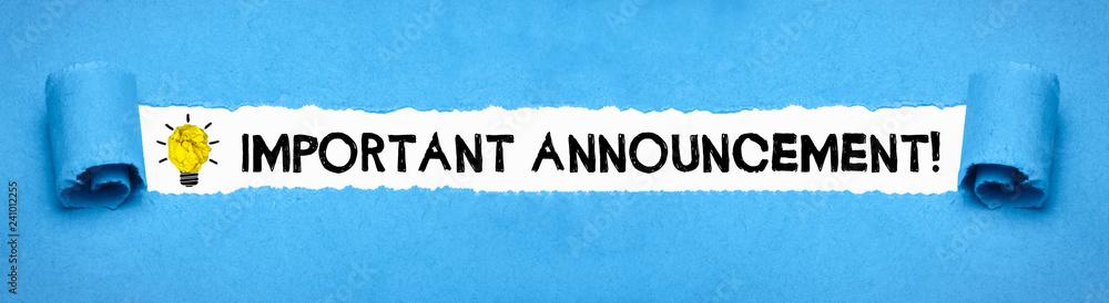 Fototapeta Important Announcement!