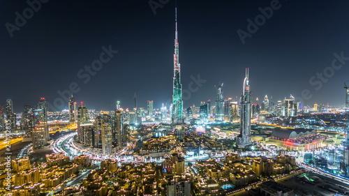 Fotografie, Obraz  Dubai Downtown at night timelapse view from the top in Dubai, United Arab Emirat