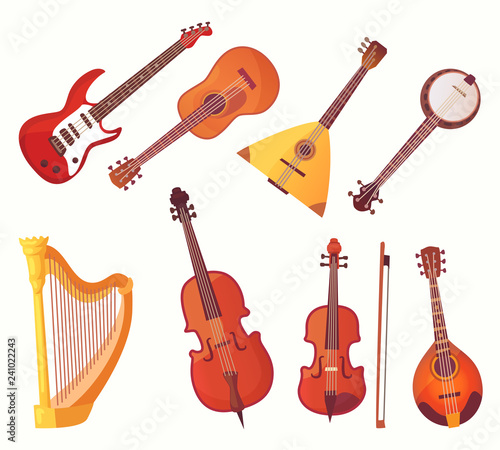 Cartoon musical instruments Fototapet