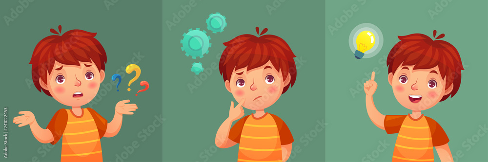 Fototapeta Child question. Thoughtful young boy ask question, confused kid and understand or found answer cartoon vector portrait illustration