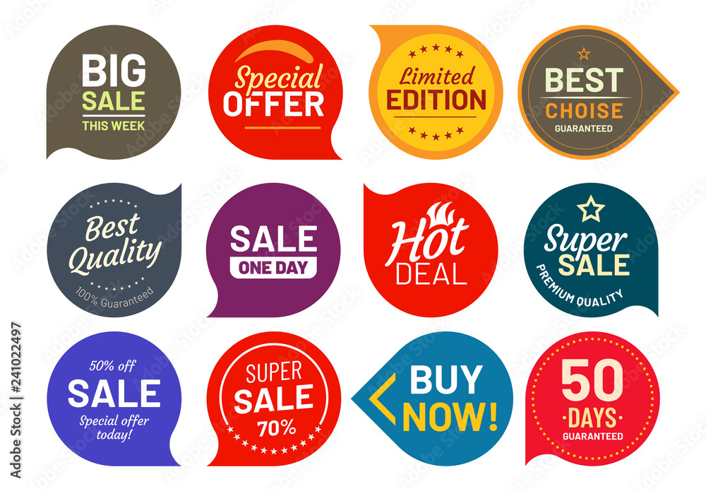 Fototapeta Sale quality badges. Round hundred percent assured label badge. Sticker vector illustration icons set