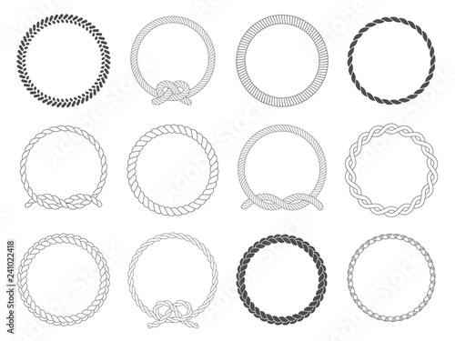 Fototapeta Round rope frame. Circle ropes, rounded border and decorative marine cable frame circles isolated vector set obraz