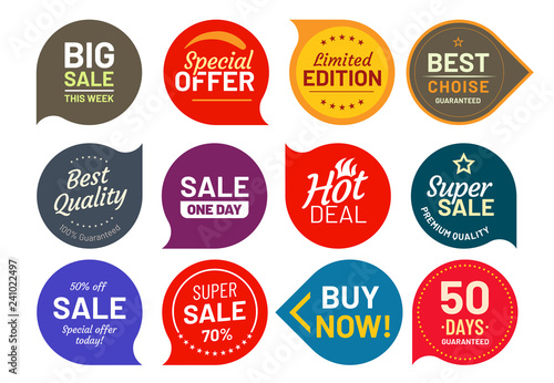 Sale quality badges. Round hundred percent assured label badge. Sticker vector illustration icons set