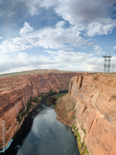 Photo  Panoramic view from Glen Canyon Dam to Colorado river
