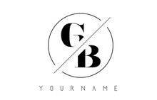 GB Letter Logo With Cutted And Intersected Design