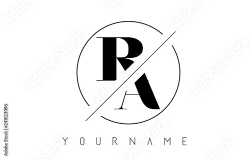 Photo  RA Letter Logo with Cutted and Intersected Design