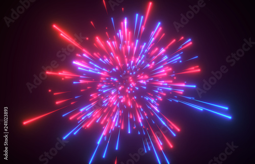 3d render, red blue fireworks - Illustration Canvas Print