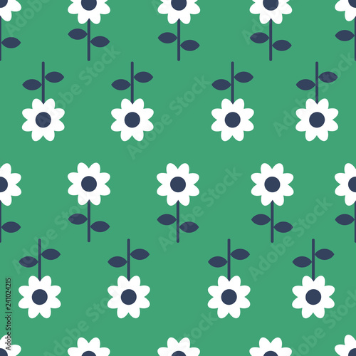 Fotografija  Vector Folk art seamless pattern background - Scandinavian, Nordic style
