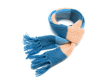 Knitted Scarf On A White Backg...