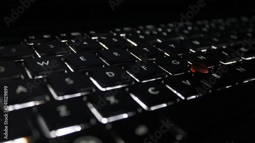 Fotografie, Tablou  Closeup of laptop keyboard illumination, backlit keyboard