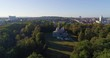 Aerial shot of Schloss Favorite. Camera zooms out to show wooded grounds of the hunting lodge located on a rise, directly north of Ludwigsburg Palace.