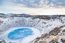 Kerid Crater In Iceland At Sun...