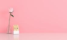 Pink Rose In Pink Room For Mockup, Valentine Concept, 3D Rendering