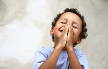 Little Boy Praying Stock Photo