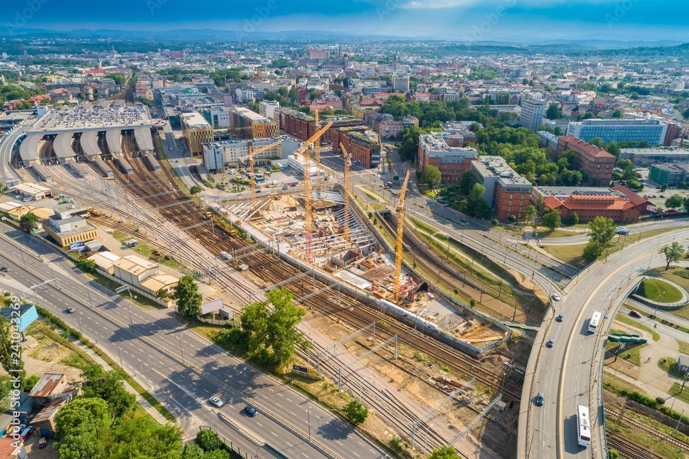 Fototapety, obrazy: Krajobraz miasta i budowa wieżowca. Zdjęcie z drona