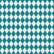 Argyle Seamless Pattern - Classic And Clean Teal And White Argyle