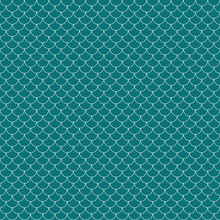Fish Scales Seamless Pattern - Teal And White Fish Scales Or Scallops Design