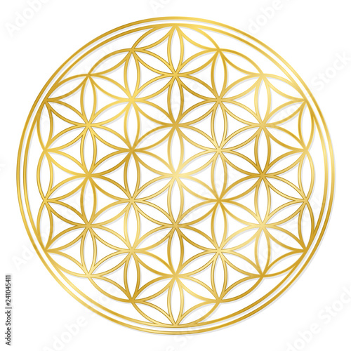 Fotografía  Golden Flower of Life, used for decoration or golden pendant