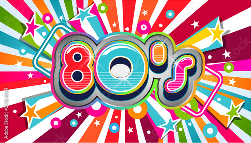 80s Vintage Party Background Illustration Wallpaper Mural