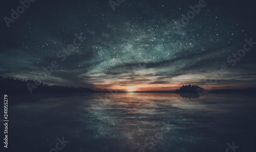 Tuinposter Natuur Stars reflected in the water of the archipelago during sunset