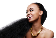 Cheerful Young  African American Woman With Very Long Hair