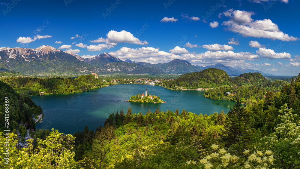 Fototapety, obrazy: Lake Bled with St. Marys Church of Assumption on small island. Bled, Slovenia, Europe. The Church of the Assumption, Bled, Slovenia. The Lake Bled and Santa Maria Church near Bled, Slovenia.