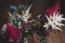 Wildflower Thistle Astilbe Arrangement In Glass Vases