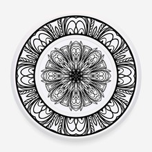 Decorative Plate With Round Mandala Ornament. Abstract Floral Pattern In Ethnic Style. Vector Illustration