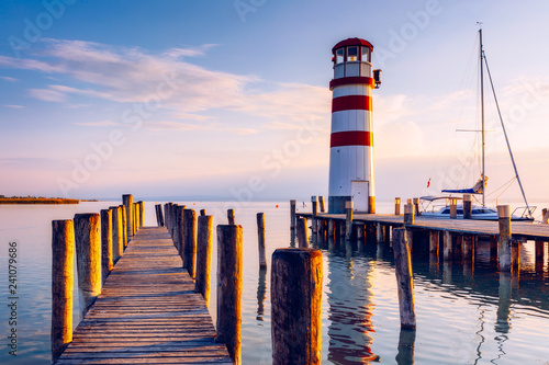 Foto op Plexiglas Vuurtoren Lighthouse at Lake Neusiedl at sunset near Podersdorf, Burgenland, Austria