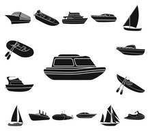 Water And Sea Transport Black Icons In Set Collection For Design. A Variety Of Boats And Ships Vector Symbol Stock Web Illustration.